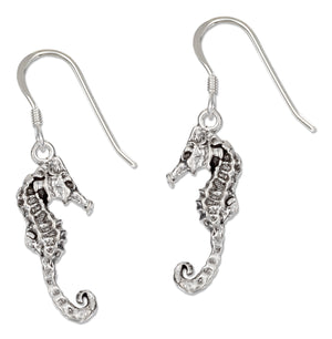 Sterling Silver Antiqued Seahorse Earrings on French Wires