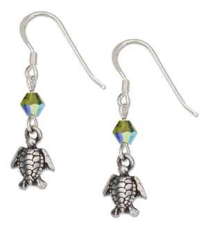 Sterling Silver Swimming Turtle Earrings with Green Swarovski Crystals
