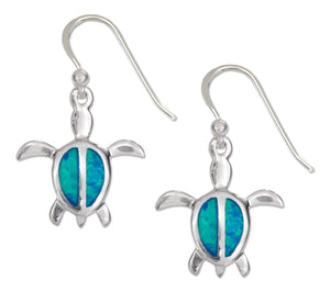 Sterling Silver 16x17mm Synthetic Opal Turtle Earrings with French Wires