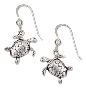 Sterling Silver 13x14mm Tilted Head Turtle Earrings with French Wires