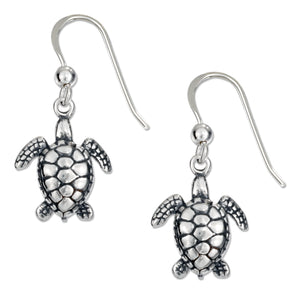 Sterling Silver Antiqued Mini Swimming Turtle Earrings on French Wires