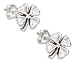 Sterling Silver Four Leaf Clover Earrings on Stainless Steel Posts and Nuts