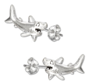 Sterling Silver Shark Earrings on Posts