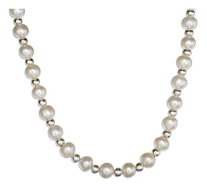 Sterling Silver 16 to 18 inch Adjustable Silver and Fresh Water Cultured Pearl Necklace