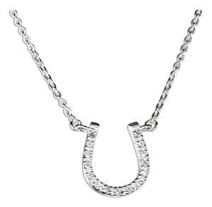 Sterling Silver 18 inch Cubic Zirconia Horseshoe Pendant Necklace