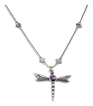 Sterling Silver 16 to 18 inch Adjustable Liquid Silver and Amethyst Dragonfly Necklace
