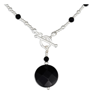 Sterling Silver 16 inch Round Faceted Onyx Necklace with Onyx and Silver Beads