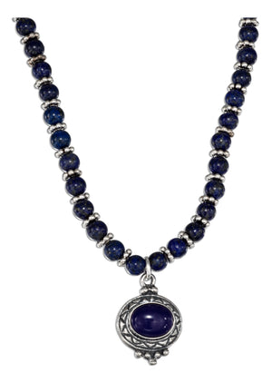 Sterling Silver 16 inch Lapis Beaded Liquid Silver Oval Lapis Necklace