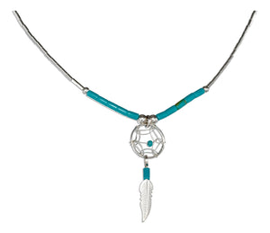 Sterling Silver 20 inch Dreamcatcher Necklace with Feather and Turquoise Heishi