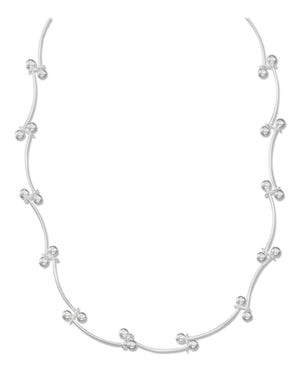Sterling Silver 16 inch to 18 inch Adjustable Curved Dumbbell Link Necklace