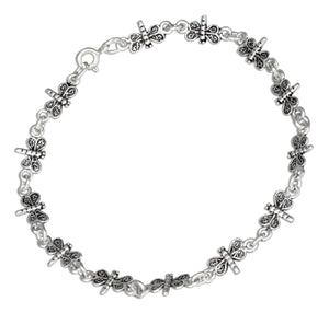 Sterling Silver 7 inch Antiqued Mini Dragonfly Link Bracelet