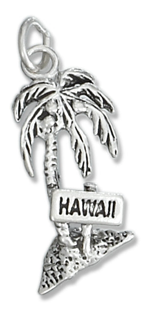 Sterling Silver Antiqued Palm Tree with 'Hawaii' Sign Charm