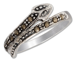 Sterling Silver 7mm Marcasite Bypass Snake Ring