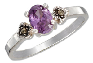 Sterling Silver 5x7mm Oval Purple Cubic Zirconia and Marcasite Ring