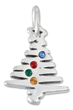 Sterling Silver Christmas Tree Charm with Swarovski Crystals