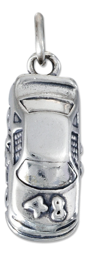 Sterling Silver Three Dimensional #48 Racing Car Charm