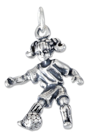 Sterling Silver Three Dimensional Girl Soccer Player Charm