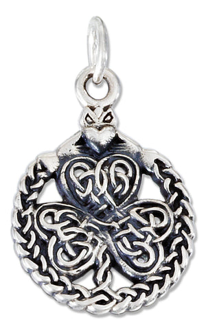 Sterling Silver Heart in Hands with Celtic Knot Shamrock Charm