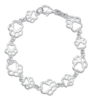 Sterling Silver 7.5 inch Alternating Small Large Outline Paw Print Bracelet