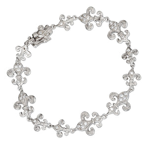Sterling Silver 7 inch Large and Small Cubic Zirconia Fleur-de-lis Links Bracelet