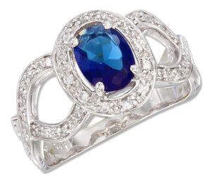 Sterling Silver Oval Blue Glass and Cubic Zirconias Ring