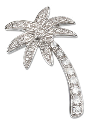 Sterling Silver Cubic Zirconia Palm Tree Pendant