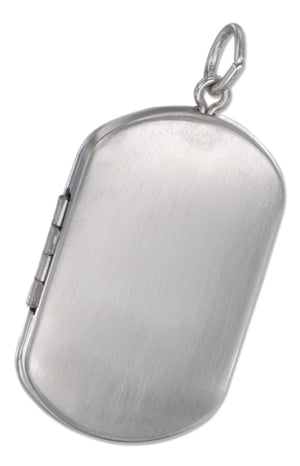 Sterling Silver Brushed Finish Dog Tag Locket Pendant