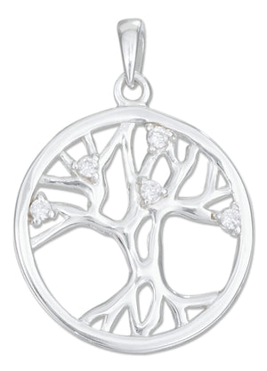 Sterling Silver High Polish Tree Of Life Pendant with Cubic Zirconias