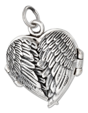 Sterling Silver Antiqued Angel Wings Heart Locket