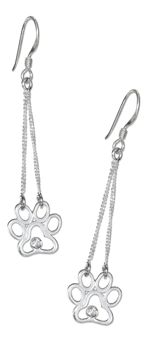 Sterling Silver Paw Print Silhouette Drop Earrings on French Wires