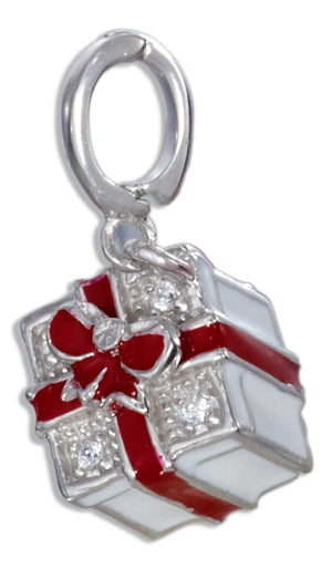 Sterling Silver Red and White Enamel Present Box Charm