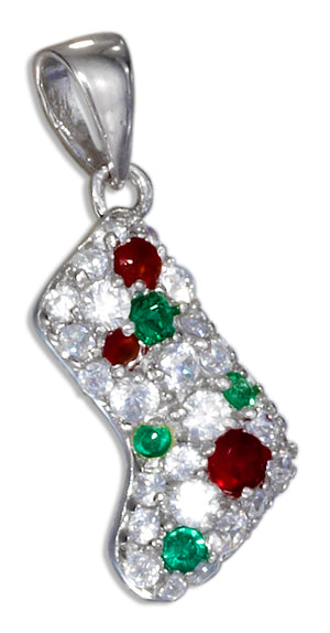Sterling Silver Christmas Stocking Bootie Charm with Clear, Red and Green Cubic Zirconias