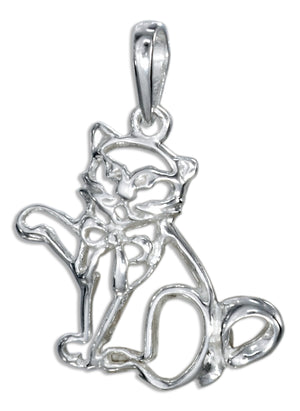 Sterling Silver Silhouette Cat Pendant with Bow