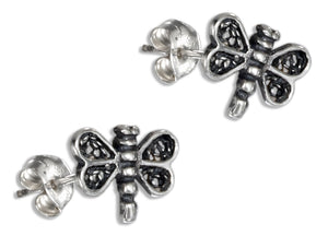 Sterling Silver Mini Dragonfly Earrings with Filigree Wings