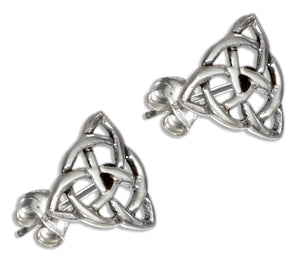 Sterling Silver Celtic Trinity Knot with Circle Earrings