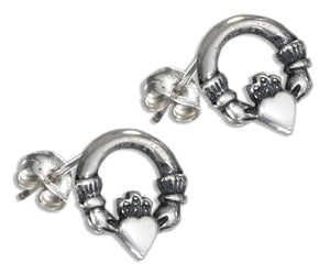 Sterling Silver Mini Claddagh Earrings
