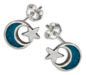Sterling Silver Faux Turquoise Moon & Star Earrings on Stainless Steel Posts