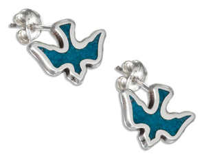 Sterling Silver Simulated Turquoise Dove Earrings Stainless Steel Posts/nuts