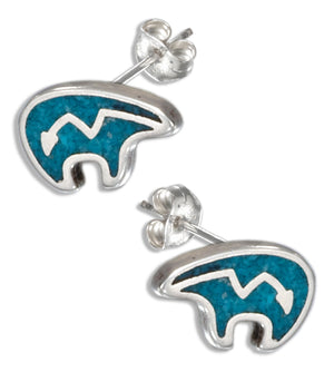 Sterling Silver Faux Turquoise Heartline Bear Earrings Stainless Steel Posts