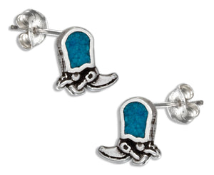 Sterling Silver Simulated Turquoise Cowboy Boot Earrings Stainless Steel Post