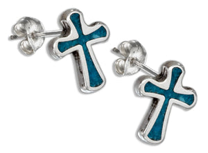 Sterling Silver Simulated Turquoise Cross Earrings Stainless Steel Posts/nuts