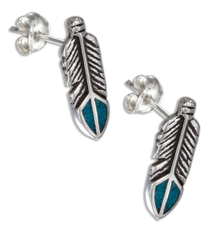 Sterling Silver Simulated Turquoise Feather Earrings on Stainless Steel Posts