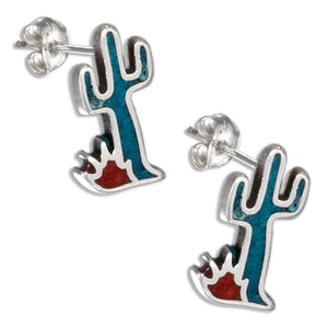 Sterling Silver Simulated Turquoise Cactus Earrings on Stainless Steel Posts