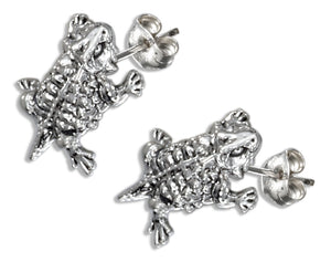 Sterling Silver Mini Horned Toad Earrings on Stainless Steel Posts and Nuts