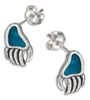 Sterling Silver Simulated Turquoise Bear Paw Earrings Stainless Steel Posts