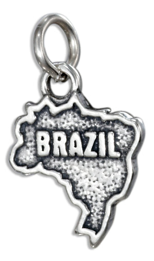 "Sterling Silver ""Brazil"" Map Charm"