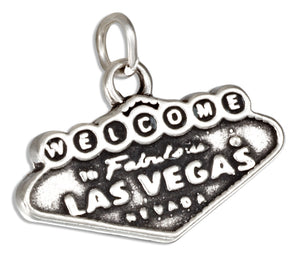 "Sterling Silver ""Welcome To Las Vegas"" Sign Charm"