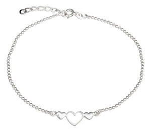 Sterling Silver 9 inch to 10 inch Adjustable Triple Hearts Anklet on Bead Chain