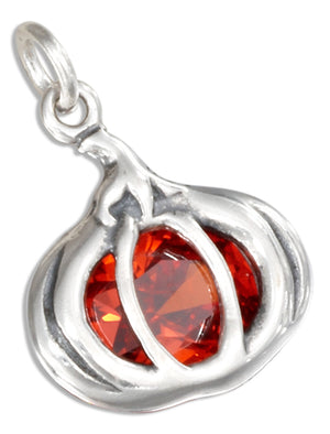 Sterling Silver Orange Cubic Zirconia Pumpkin Pendant