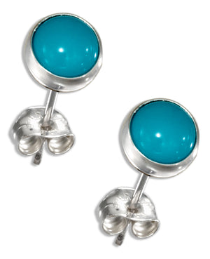 Sterling Silver 6mm Round Simulated Turquoise Post Earrings